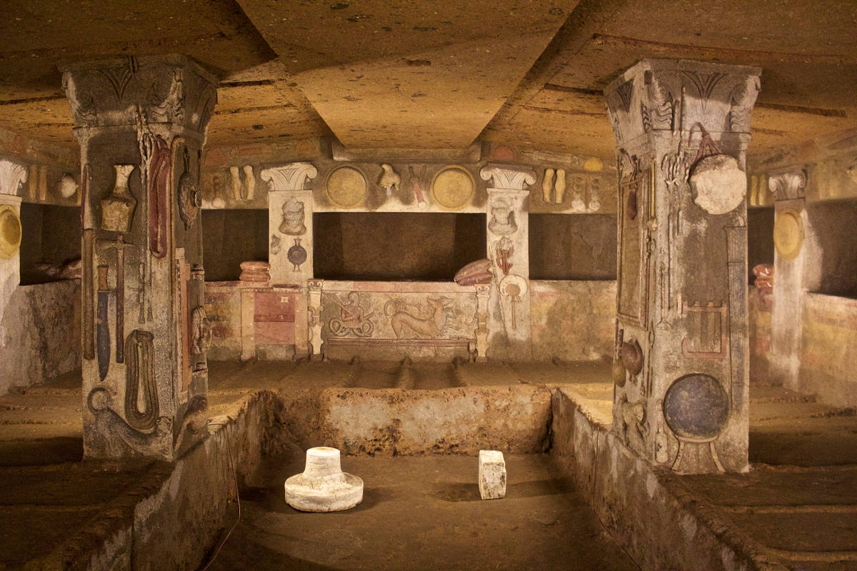archaeological sites in italy cerveteri tomb of the reliefs lazio italy
