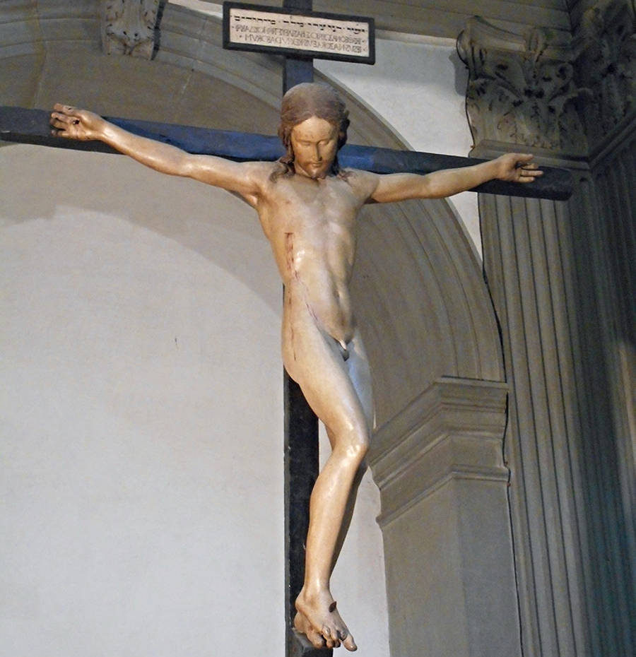 michelangelo crucifix santo spirito florence tuscany italy