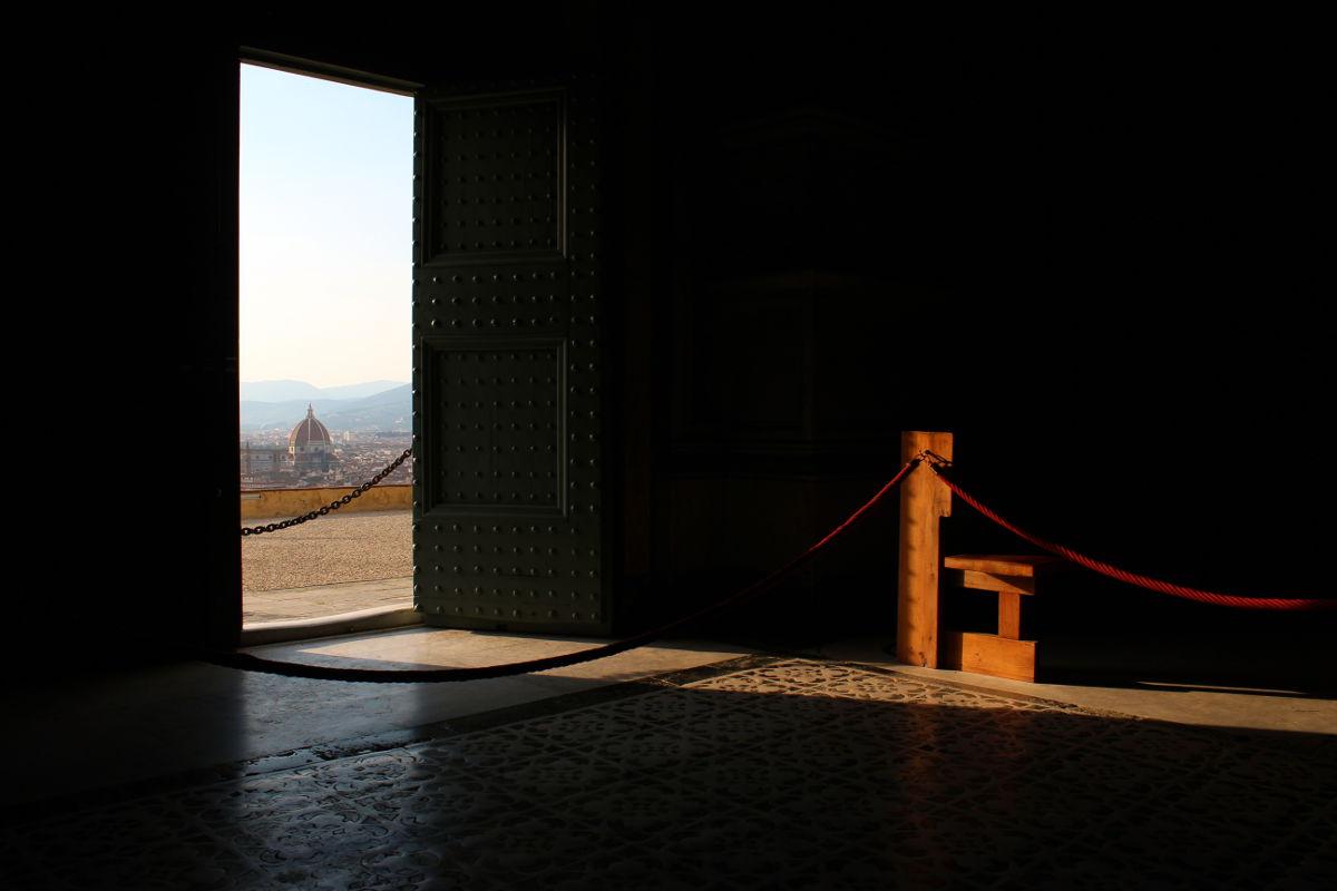 san miniato interior door florence tuscany italy