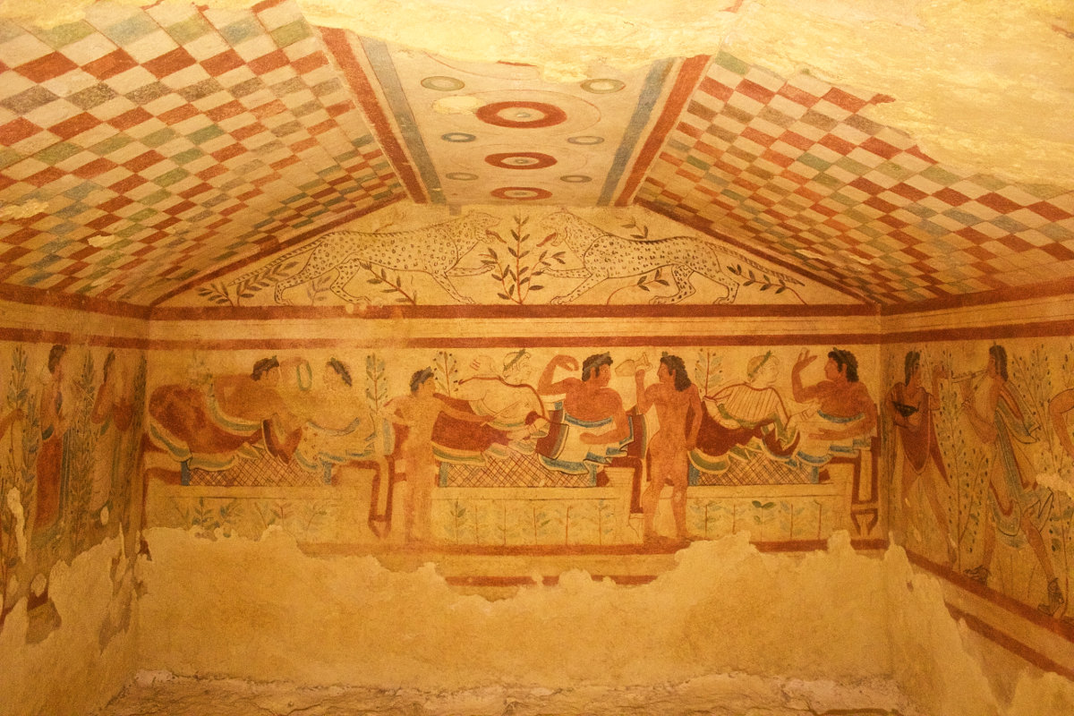 archaeological sites in italy tomb of the leopards tarquinia italy