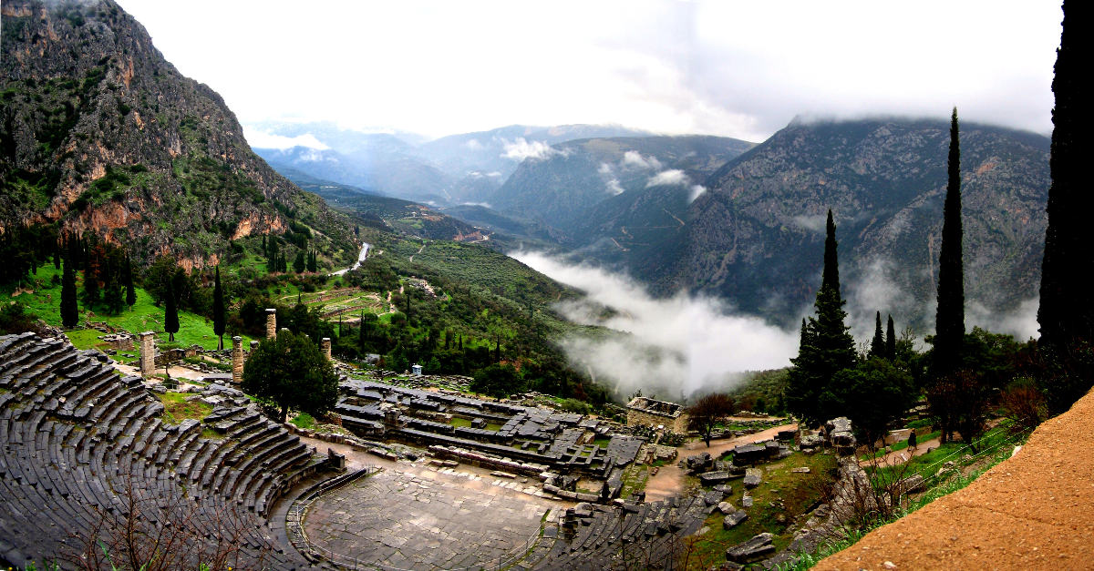View of the Theater and Temple of Apollo at Delphi, Greece. History comes alive.
