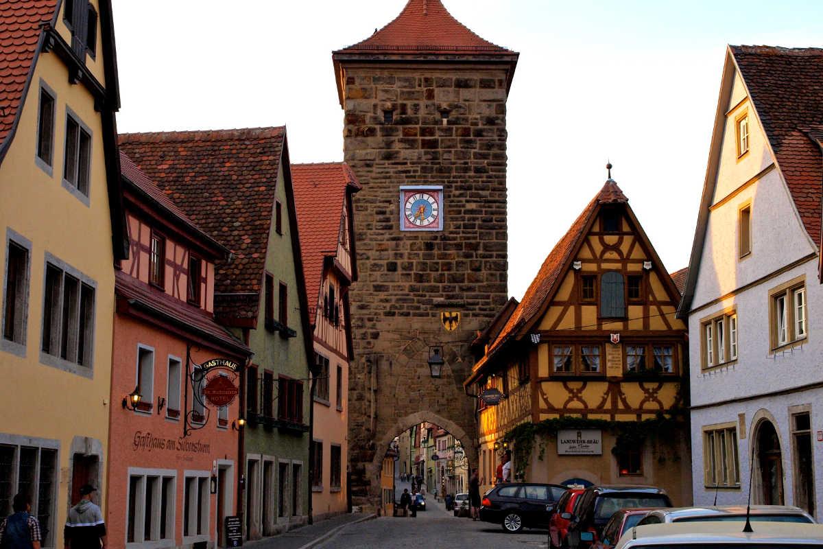 Historic Rothenburg ob der Tauber Germany street view.