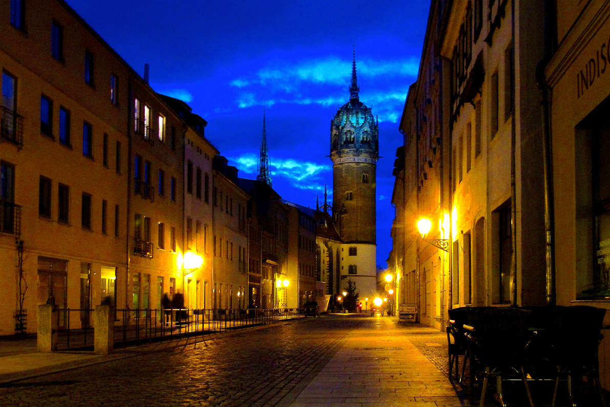 Night view of the streets of Wittenberg, Germany.
