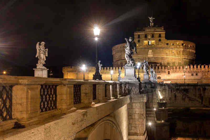 Castel Sant'Angelo Night Authentic Living Rome Italy