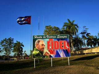 Fidel sign Santa Clara. Daily life in Cuba.