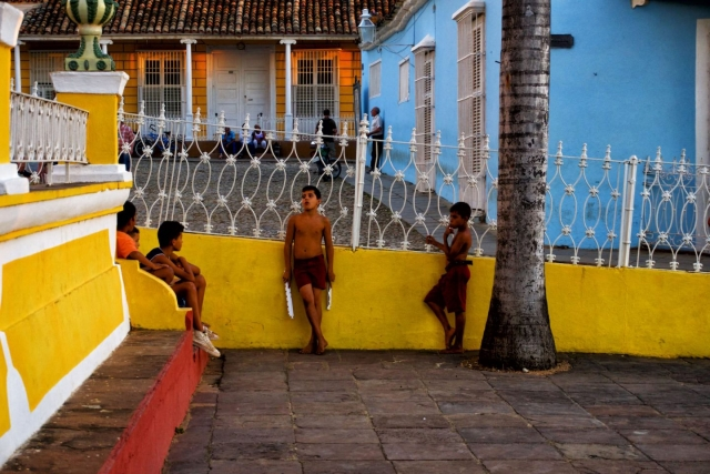 children playing in the street in Trinidad. Daily life in Cuba.