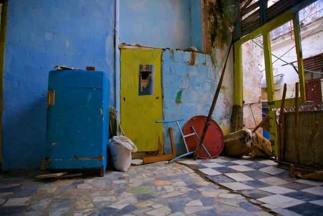 Abandoned fridge in Havana. Daily life in Cuba.