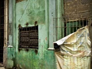Makeshift door in Havana. Daily life in Cuba.
