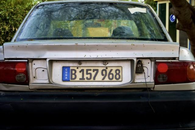 Manual lock on car in Varadero. Daily life in Cuba.