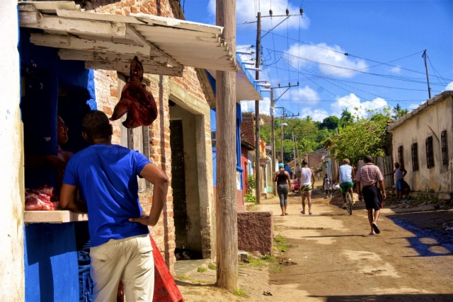 Meat for sale in Trinidad. Daily life in Cuba.