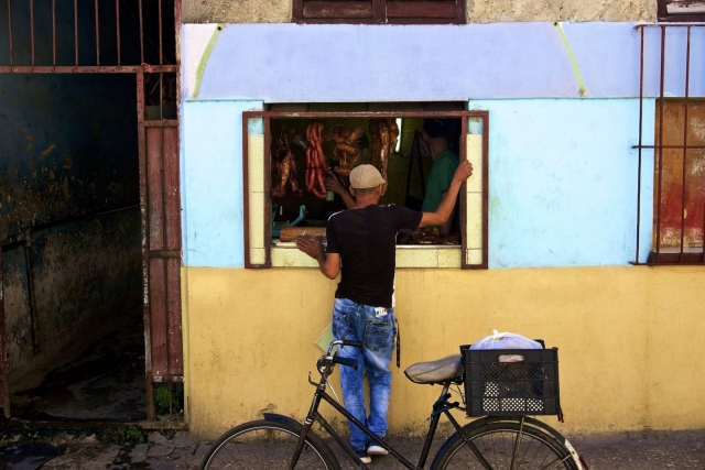 Meat stand in Havana. Daily life in Cuba