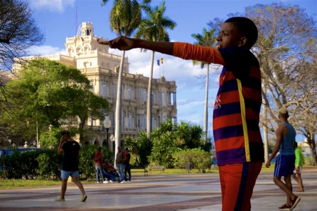 Kids playing soccer in Havana. Daily life in Cuba.