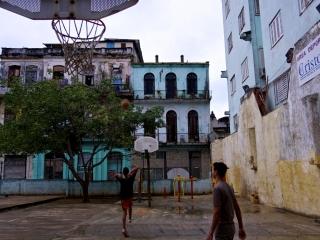Street basketball game in Havana. Daily life in Cuba.