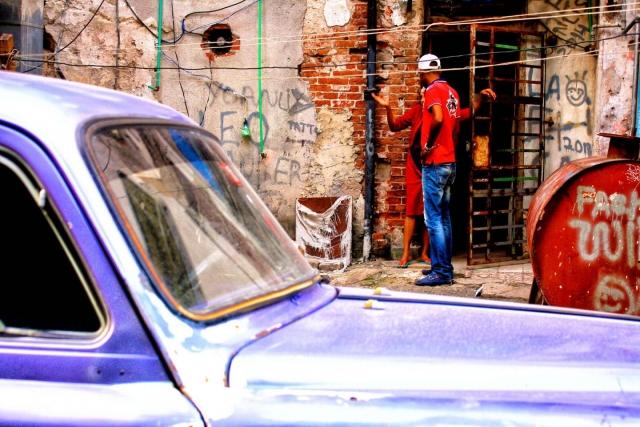 Talking on the streets in Havana. Daily life in Cuba.