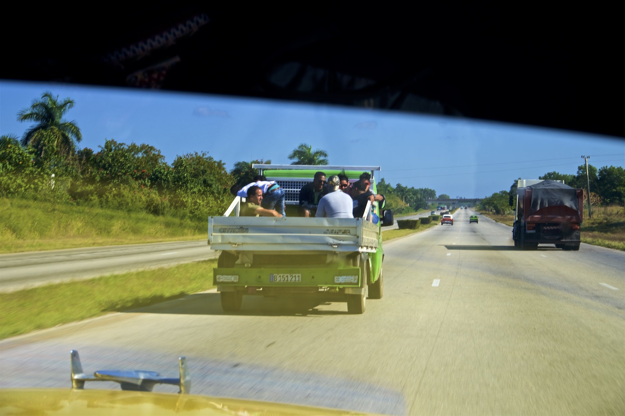 Transportation on Cuban highways. Daily life in Cuba.