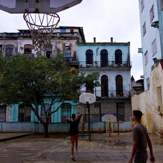 Basketball practice in Havana Cuba