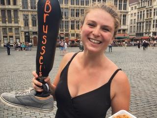 Devon having a Belgian Waffle in Brussels.