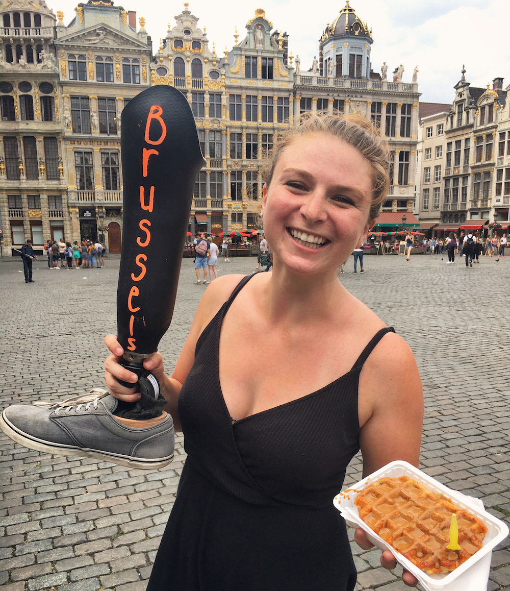 Devon having a Belgian Waffle in Brussels.