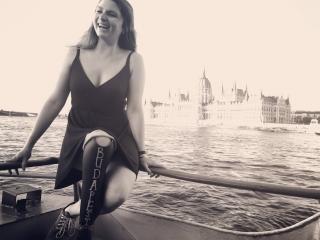 Devon taking a boat ride in Budapest.