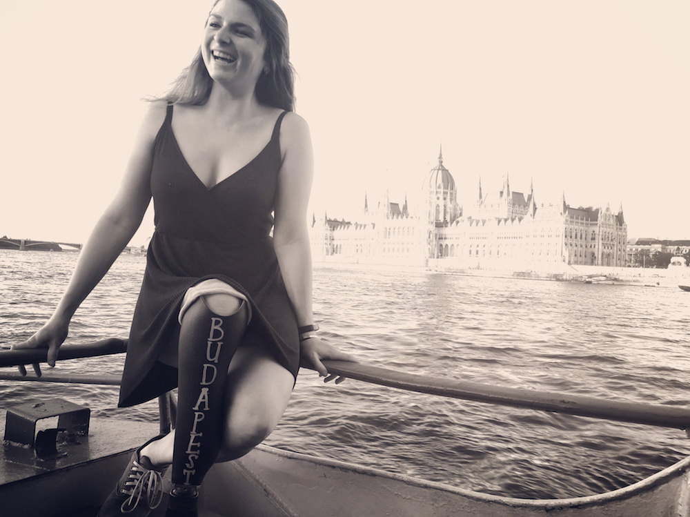 Devon taking a boat ride in Budapest.